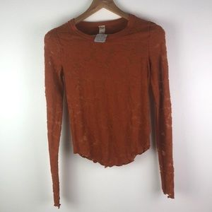 NWT Free People Orange Long Sleeve Shirt Small